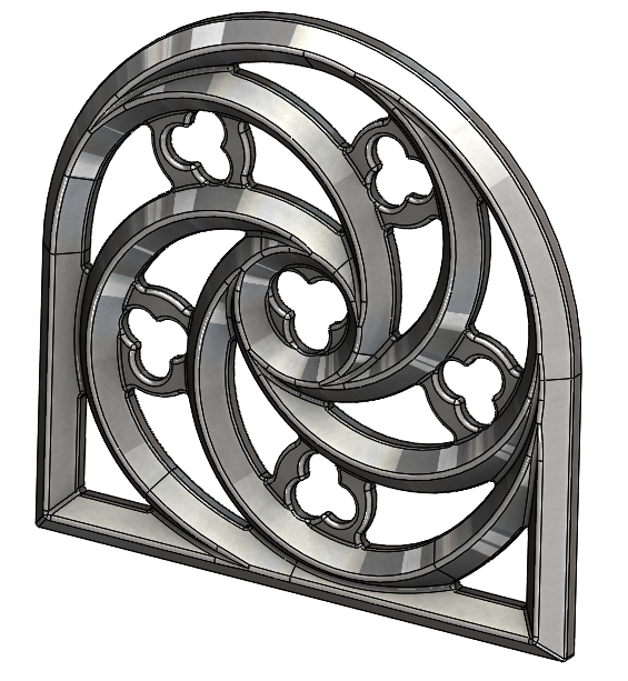 French Gothic Window With Quatrefoil