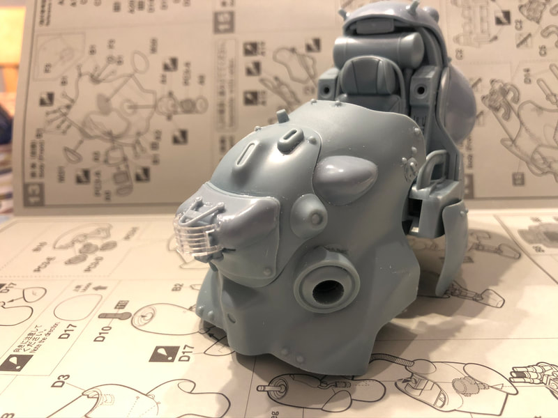 MK44 Ma.k Maschinen Krieger SF3d WhiteKnight cockpit with front armour and visor shown