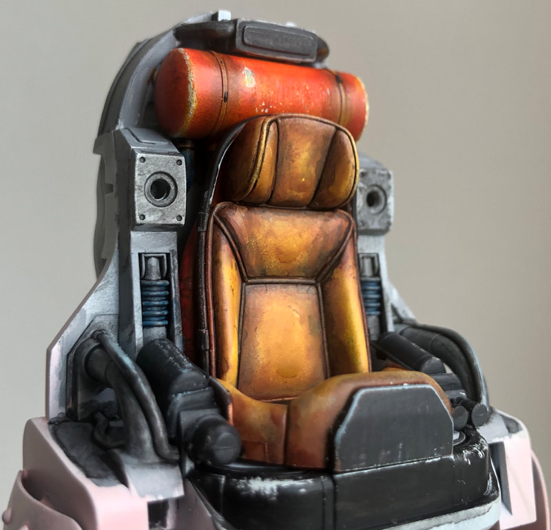model making, maschinen krieger, leather effect paint seat chair, vallejo paint, wet blended, ma.k whiteknight, sf3d model