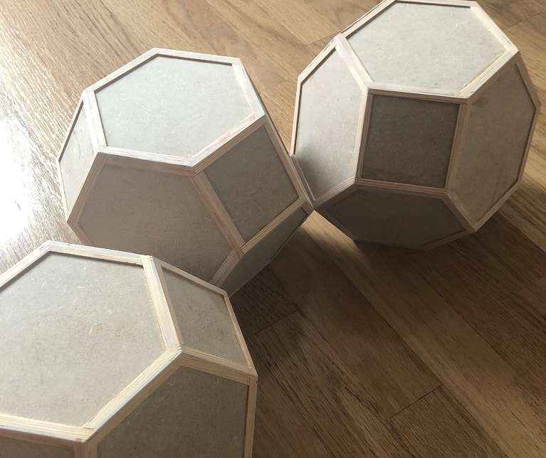 Studio Scale Silent Running Valley Forge Fuel Pods, CNC, Woodwork, MDF, Router, Assembled, Wood Glued Structures, Truncated Octahedron