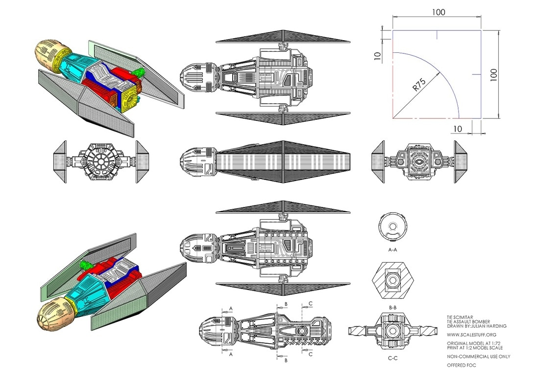 Blueprint Plans Drawing Star Wars Tie Fighter Scimitar Assault Bomber