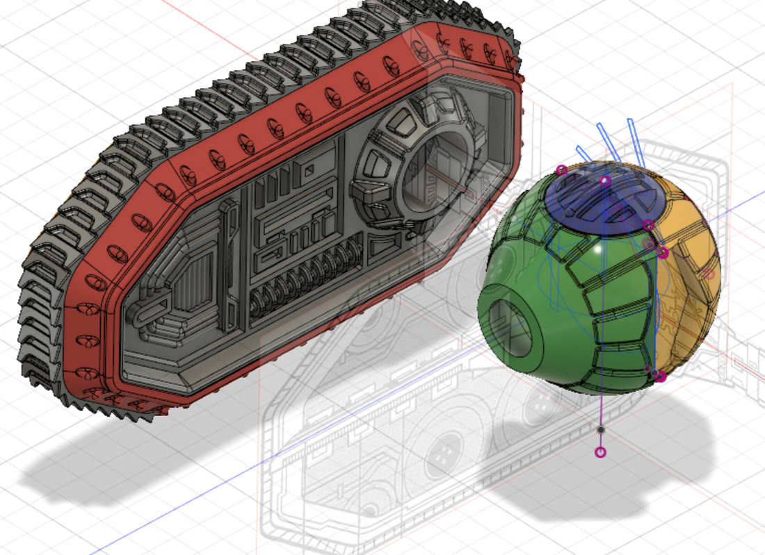 Tie Crawler Tank from Star Wars, Work in Progress (WIP) designed in Autodesk Fusion 360 for 3d printing at 1/72 scale